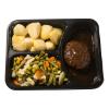 Gehaktbal v met jus gemengde groenten-gekookte aardappelen