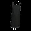 Halterschort kruisband met vierkante zak, zwarte denim