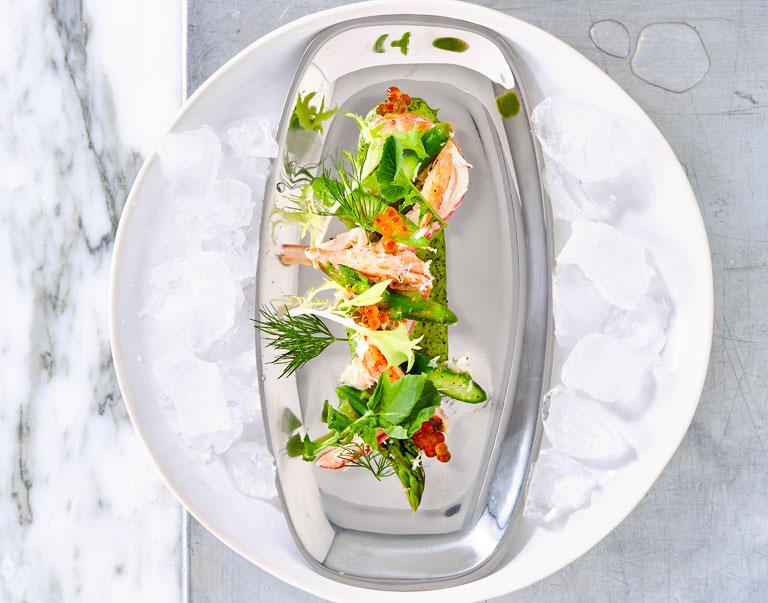 Salade van Noordzeekrab met groene asperges