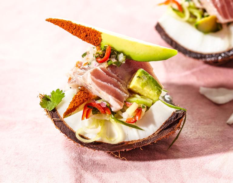 Ceviche van tonijn met kokos